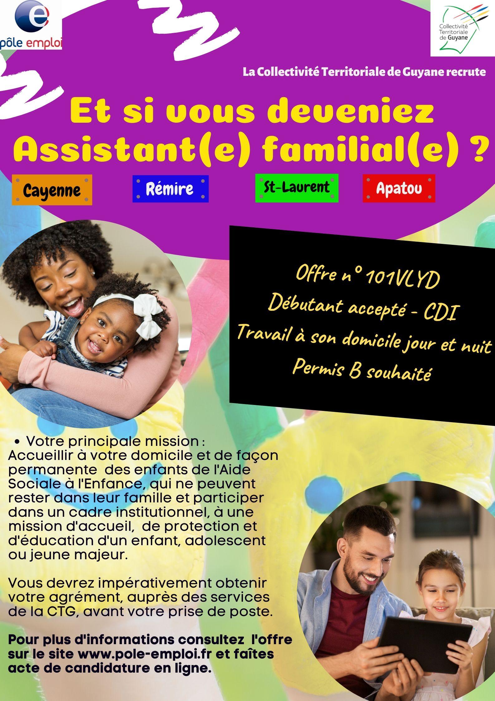 Recrutement Assistant(e) Familial(e) Pôle emploi