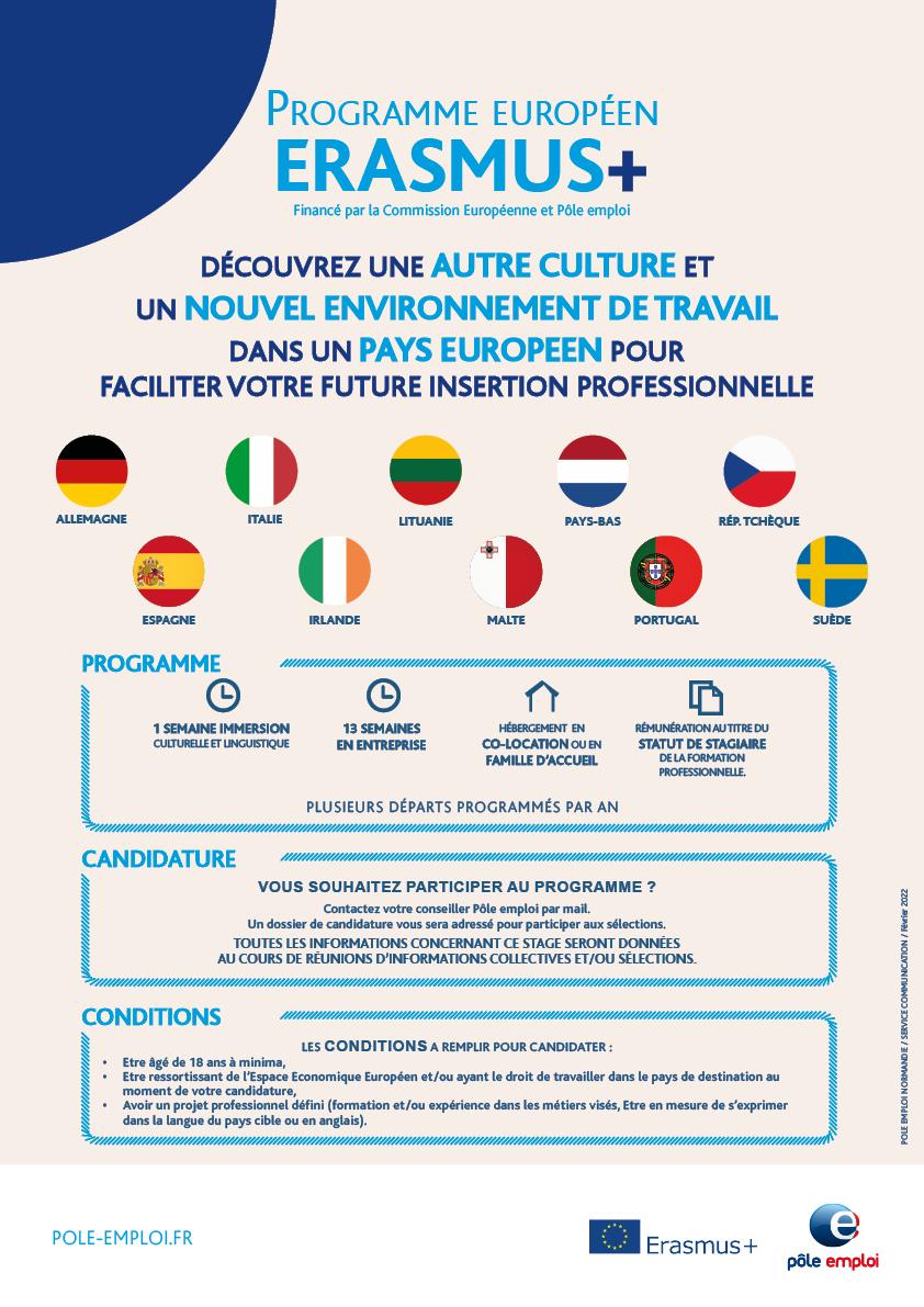 Pole Emploi Calendrier 2022 ERASMUS+, 13 semaines d'immersion en Europe à votre portée !  Pôle